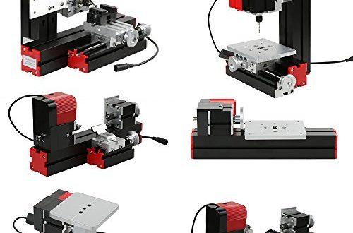 KKmoon Mini DIY 6 in 1 Drehmaschine aus Aluminiumlegierung 500x330 - KKmoon Mini DIY 6 in 1 Drehmaschine aus Aluminiumlegierung + Zinklegierung, Multifunktionale Fräsmaschinen Sägemaschine Schleifer Bohrer Drehbank 100-240V 48W Rot und Schwarz