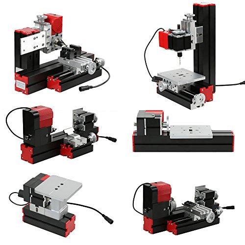 KKmoon Mini DIY 6 in 1 Drehmaschine aus Aluminiumlegierung + Zinklegierung, Multifunktionale Fräsmaschinen Sägemaschine Schleifer Bohrer Drehbank 100-240V 48W Rot und Schwarz